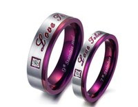 Wholesale Unique Tungsten Rings - High Quality Mens Unique Purple Titanium Stainless Steel Couple Rings Engagement Wedding Promise Bands CZ Inlay
