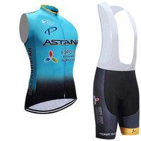Wholesale Astana Cycling Clothes - 2017 astana team tour de france men cycling clothing outdoor sportswear cycling wear mens quick dry summer cycling sleeveless jersey D1009