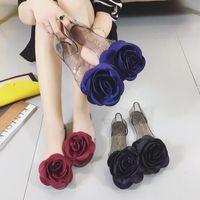 gül çiçeği jölesi toptan satış-Yeni Yaz Sandalet Kadın Gül Çiçekler Şeffaf Kristal Alt Jöle ayakkabı Kadın Balık Ağzı Ayakkabı Düz Kum Plaj Serin Terlik