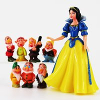 Wholesale Dwarf Figure - 4-13cm Snow White and Seven Dwarves PVC Action Figure Collectable Model Toy for kids gift free shipping EMS