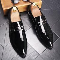 erkek için ofis rahat ayakkabılar toptan satış-Erkek Patent Deri Slip-On Elbise Düğün Ayakkabı Mens Moda Ofis İş Oxfords Adam Rahat Gece Kulübü Parti Sürüş Flats Artı Boyutu