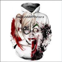 joker giyim erkek toptan satış-Yeni moda Serin kazak Hoodies Erkekler kadınlar 3D baskı İntihar Kadro Harley Quinn Joker moda sıcak Tarzı Streetwear Uzun kollu giysi M06