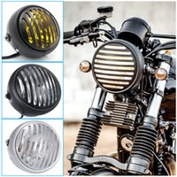 "Wholesale Vintage Headlights - Retro Grill Headlight Motorcycle Front Fork Mount Cover Mask Vintage Harley Headlight Bullet 6.5"" Cafe Racer Ducati Light Honda CG250 NG125"