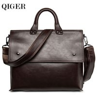 Wholesale Cheap Crocodile Tote Handbags - 2017 Cheap Leather bag Business Men bags Laptop Tote Briefcases Crossbody bags Shoulder Handbag Men's Messenger Bag