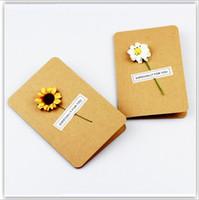 Wholesale diy greeting cards - 10Pcs  Lot Diy Creative Pretty Floral Retro Kraft Paper Handmade Christmas Card Greeting Card New Year Blessing Card