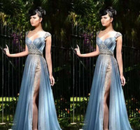 sereia de beleza venda por atacado-Rami Salamoun 2017 Mermaid Lace Side Dividir Vestidos de Noite Beads Querida Pescoço plissados Tule Até O Chão Prom Party Beleza Pageant Vestido