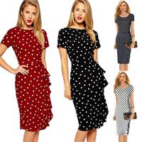 vestidos extensíveis de joelho venda por atacado-Mulheres do vintage polka dot manga curta na altura do joelho-comprimento casual stretchy bodycon lápis business dresses