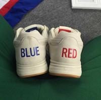 бесплатная доставка обувь корея оптовых-Бесплатная доставка 2017 мода Корея классический кожаный нейтральный Run обувь красный синий Мандарин утка обувь