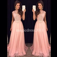 Wholesale Embellished Pageant Gowns - 2016 Pink Lace Prom Evening Dresses Formal Pageant Gowns A-Line Jewel Illusion Bodice Heavily Embellished Chiffon Party Bridesmaid Dress