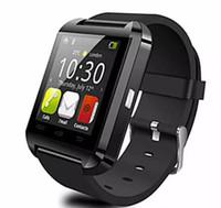 спортивные наручные часы белые оптовых-Бесплатная доставка 2017 Bluetooth-Pphone использование U8 Smart Watch спорт работает синхронизации наручные часы доступны английский китайский красный белый черный