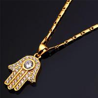Wholesale Hamsa Turkey - Fatima Hamsa Hand Crystal Necklaces & Pendants For Women Fashion Silver Gold Color Cubic Zirconia Amulet Turkey Jewelry P691