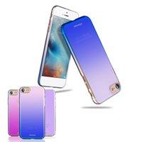 Wholesale Vivo Case - For Iphone 7 plus Gradient Color Streamer Blue Color PC Hard Phone Case For iphone 6 Samsung S8 plus OPPO R9s VIVO X9 plus Retail Package
