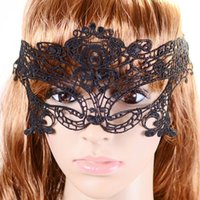 Wholesale Halloween Sexy Costume For Ladies - Hot Sales Black Sexy Lady Lace Mask Cutout Eye Mask For Masquerade Party Fancy Dress Costume Halloween Party Fancy