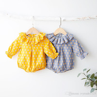 Wholesale Rabbit Romper - Ins NEW ARRIVAL fall infant Kids Cotton Long Sleeve Ruffle collar full rabbits print Romper 100% cotton baby Climb spring autumn romper
