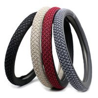 Wholesale steering wheel cover leather thread - 38cm Car Steering Wheel Cover With Needles and Thread Artificial Leather Car Styling Auto Accessories Dercoration Protector free shiipping