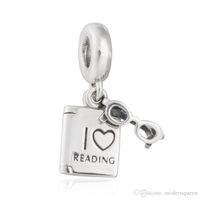freie lesungsbücher großhandel-Liebes-Lesebuch-Charme bördelt authentische S925 Sterlingsilberkorne passt Pandora-Schmucksachearmbänder freies Verschiffen CH621