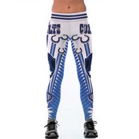 neue mix-print-leggings großhandel-Wholesale freies Verschiffen-Qualitäts-Frauen-blaue Colts-bunte Drucklegging Eignungs-Art- und Weisehohe Taillen-Hosen