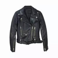 Wholesale Ladies Leather Jackets Sale - 2017 Hot Sale Women New Faux Leather Jacket Ladies Black Beige Biker Short Motorcycle Coats with Belt Zipper S-XL