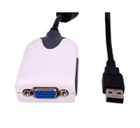 nuevas tarjetas gráficas al por mayor-Nuevo USB 2.0 a adaptador VGA Amplíe la tarjeta gráfica de video Adaptador de cable para monitor de pantalla múltiple WIn7 Vista XP