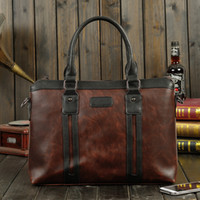 Vintage Style Crazy Horse Cuoio Uomini Borsa valigetta Solid Office Uomini Business File Bag Laptop Borsa Fashion Coffee