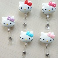 Wholesale Sheets Cats - 5pcs lot Cute Cartoon KT Cat Retractable Badge Reel Pull ID Card Badge Holder Belt Clip Hospital School Office