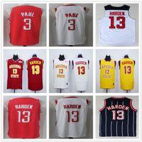 Wholesale Cheap Mens Basketball Jerseys - 2017-2018 New Season Stitched Mens #3 Chris Paul Jersey Cheap Red White #13 James Harden Basketball Jerseys College University Uniform