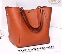 Wholesale Barrel Leather Handbag - Free shipping Hot Sell womens leather bags Totes bags handbags women Classic Fashion bags purse (4 color for pick)