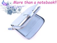 Wholesale Notepad Phones - Lychee pattern top layer real geniune leather cowhide multifuction A6 Notebook Business travel journal handy wallet passport phone holder