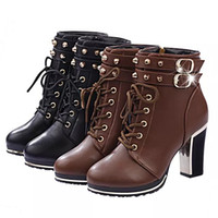 Wholesale Brown Girls Motorcycle Boots - Plus Size40 Cow Muscle Heel Pig Patent Leather Boots Women School Style Lace Up Shoes For Girls Brown Black Motorcycle Ankle Boots 682