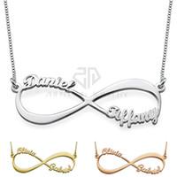 unendlichkeit für die herstellung von schmuck großhandel-Unendlichkeit Stil Zwei Name Halskette Nach Maß Edelstahl Personalisierte Namensschild Anhänger Geschenk Schmuck für Frauen