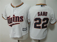 Wholesale Toddler Baby Twins - Toddler Minnesota Twins Jersey 22 Miguel Sano Cheap Baseball Jersey 100% Stitched Baby Baseball Jersey Free Shipping
