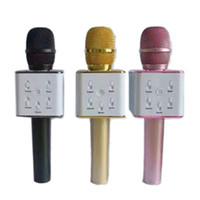 alto-falante ktv venda por atacado-Q7 Handheld Microfone Sem Fio Bluetooth KTV Com Microfone Microfono Speaker Portátil Para Smartphone Portátil Karaoke Player 0802218