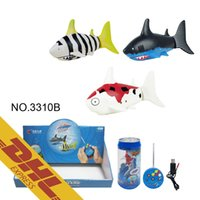 Wholesale Shark Radio Control - 36pcs lot Mini RC Shark Under Water Coke Zip-top Pop-top Can 4CH Radio Remote Control Fish 3 Colors 3310B Toys for Kids Xmas Gift