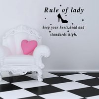 Wholesale Nursery Wall Quotes Decals - Rule of Lady Keep Your Heels Quote Wall Decals for Girls Bedroom Art Vinyl Wall Stickers Various color