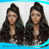 Wholesale Long Body Wave Wigs Synthetic - Long Body Wave Natural Black Synthetic Lace Front Wig With Baby Hair Thick Full Head Heat Resistant Synthetic Wigs In Stock