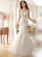 Wholesale Dress Detail Waist - 2016 New Listing O-Neck Sleeveless Beaded Waist Corset Fishtail Lace Mermaid Wedding Dress Elegant Chic Plus Size Brazil Retail