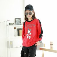 Wholesale Wholesale Women Cartoon Sweater - 2017 new fashion Cartoon printing women sweaters Stitching 2colors spring autumn sports shirts vitality girl tops