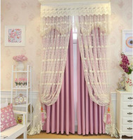Wholesale Korean type lace D relief embroidered voile window sheer curtains tulle for Living Room girl princess Bedroom fabric price