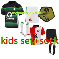 Wholesale New Set Boy - Free Shipping Top Quality KIDS Set 2017 2018 Feyenoord Rotterdam Football Shirt 17 18 New Kuyt Lex Immers Simon Kramer Home Soccer Jersey