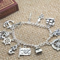 Wholesale Mermaid Clasp - 12pcs Pirates of the Caribbean inspired bracelet Sword Squid Ship Seahorse Pirate Flap Mermaid charm bracelet