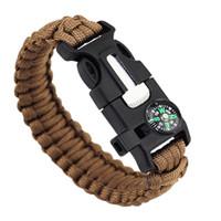 Wholesale Emergency Compass - 10pcs 5 in 1 Emergency Survival Bracelet Compass Paracord Bracelets For Men Outdoor Camping Wristband Flint Fire Wrap Bracelet