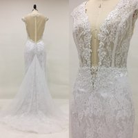 Wholesale Detachable Lace Tops - 2017 Detachable Wedding Dress Sexy Beach Wedding Dresses Mermaid Illusion Top Plunging Neck Beads Pearls Lace Bridal Gown Removable Train