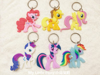 Wholesale Soft Animal Keyrings - My Little Horse Keychain Pendant keyring key holder key accessories key fob PVC pendant Soft Rubber PVC Figures Toys