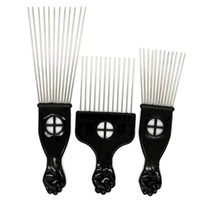 Wholesale Wide Tooth - 1 Pcs 3 Size Hair Brush Metal Wide Teeth Hair Dressing Afro Comb Fork Shape Flat Stainless Steel Pins Curly Hair Styling Tools