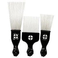 fırça seçer toptan satış-Siyah Plast Yumruk Kolu Afro Fırça Stianless Çelik Geniş Diş Metal Saç Yumruk Ile Pick Afro Tarak
