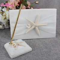 2Pcs / set Starfish Wedding Guest Book e Pen Set Set Organza Satin Cerimonia di Cerimonia nuziale Accessories Wedding Decoration Supplies $ 16 no tracking