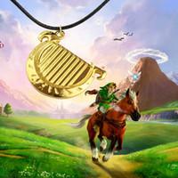 harfenanhänger großhandel-Die Legende Von Zelda Halskette 3D Spiel 18 Karat Vergoldet Harfe Form Anhänger Klassische Frauen Und Männer Bester Freund Seil Leder Halskette