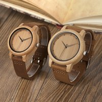 Wholesale women wooden watch - BOBO BIRD Women Watches Bamboo Wooden Watch Real Leather Band Quartz Watch As Gift For Men Ladies Accept OEM