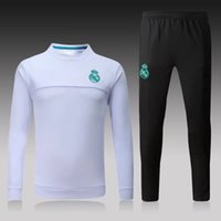Wholesale Tracksuits Sport Set - 1718 Real Madrid White Tracksuti Kits tracksuit set Sport training Suit men's Clothes Trackring suits Male Hoodies free shipping