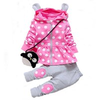 Wholesale High Fashion Baby Boy Clothes - Clothing Sets Kids Baby Girl Clothes Sets Fashion High Qulity Dot Print Hooded Set for Girl Outfit Toddler Infant Children Suit